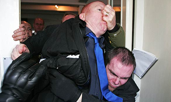 Times journalist Dominic Kennedy being ejected from BNP press conference.